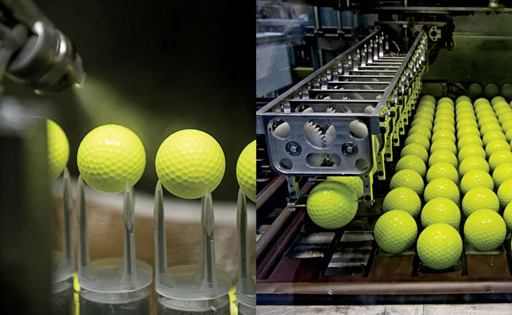 Highlights of the Titleist ball factory tour include the cast  thermoset urethane cover production, complete with yellow color.
