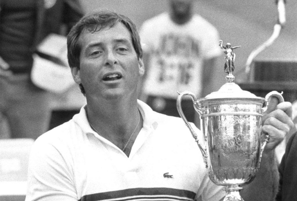 Fuzzy Zoeller with the U.S. Open trophy at Winged Foot.