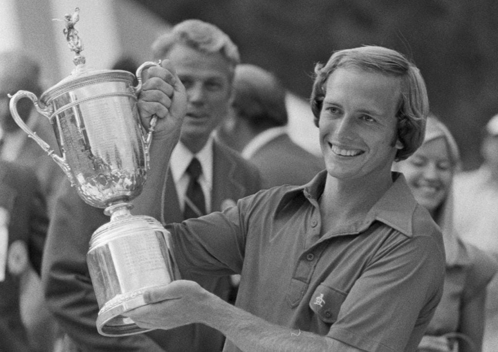 Jerry Pate holds the U.S. Open trophy after winning in 1976.