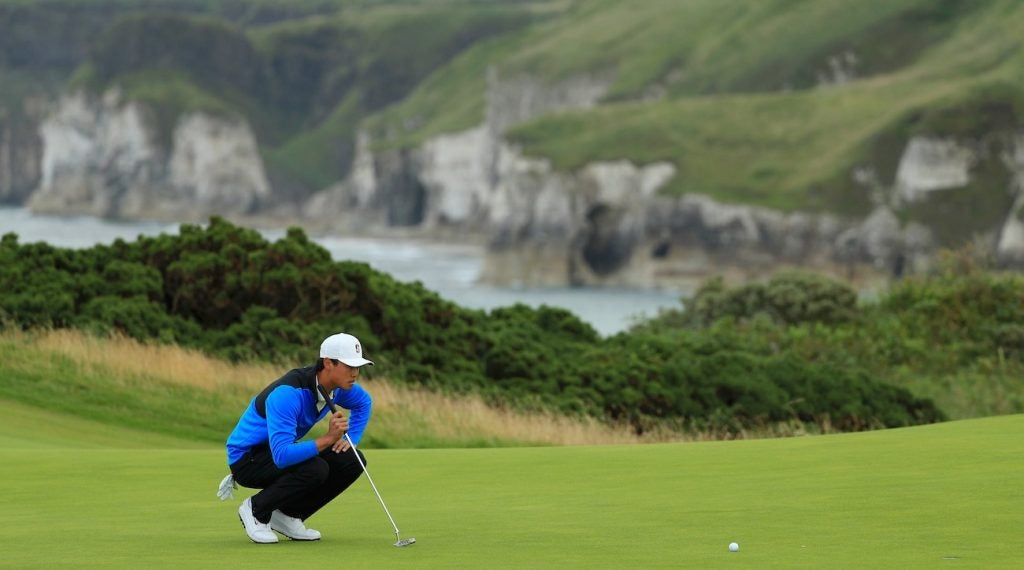 Brandon Wu lines up a putt on the fifth green  during the first round of the Open Championship.
