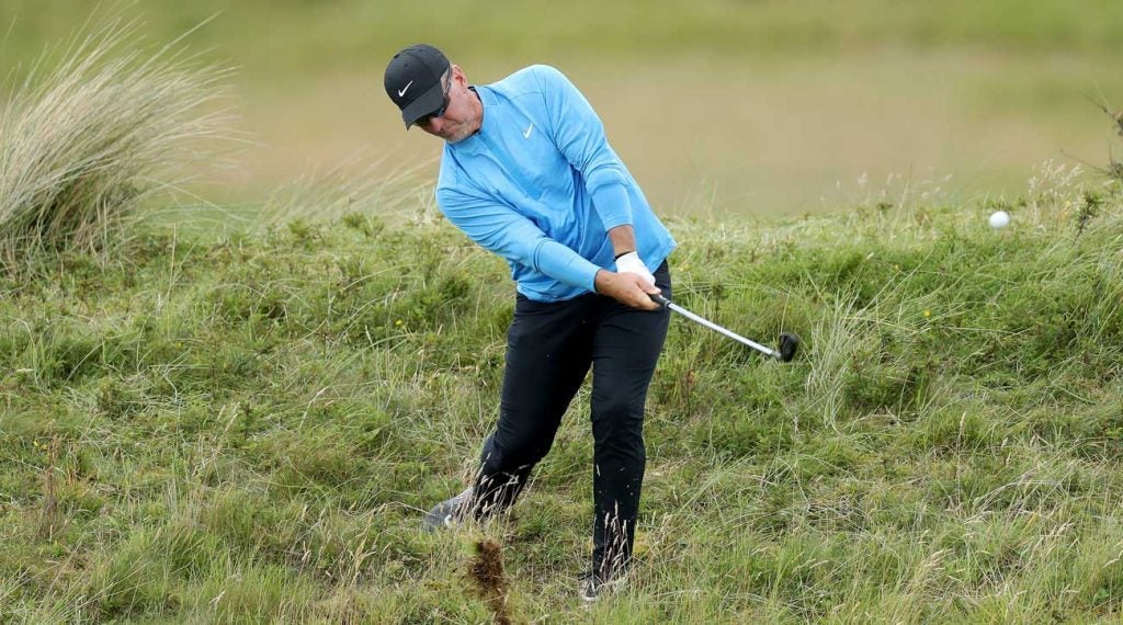 David duval hits a shot from the rough during the first round of the Open Championship at Royal Portrush.