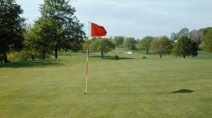 flagstick shadow on green