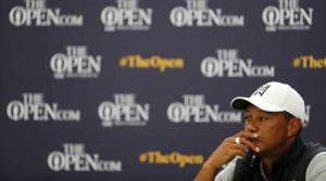 Tiger Woods speaks to the media during his press conference at the Open Championship.