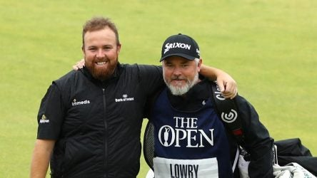 PORTRUSH, NORTHERN IRELAND - JULY 21: Open Champion Shane Lowry of Ireland celebrates with caddie Bo Martin on the 18th green during the final round of the 148th Open Championship held on the Dunluce Links at Royal Portrush Golf Club on July 21, 2019 in Portrush, United Kingdom. (Photo by Francois Nel/Getty Images)