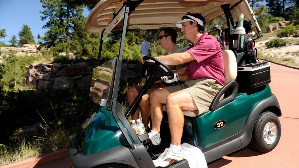Golfers in cart