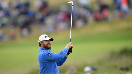 J. B. Holmes of the United States plays a shot on the 14th hole during the second round of the Open Championship.