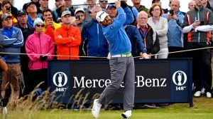 J.B. Holmes hits a tee shot during the second round of the British Open on Friday at Royal Portrush.