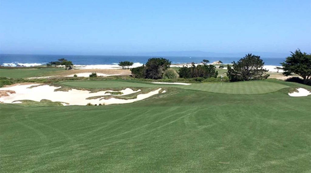 The par-4 16th at the Dunes Course has a long and narrow green with lots of trouble lurking.