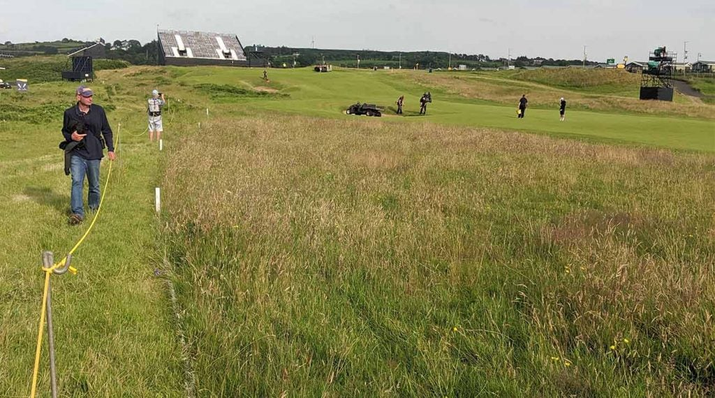 A look at the rough, and out-of-bounds area, on the left side of the opening fairway at Royal Portrush.