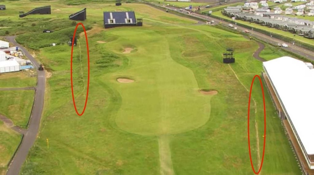 The opening hole at Royal Portrush threatens with internal out of bounds on both sides.