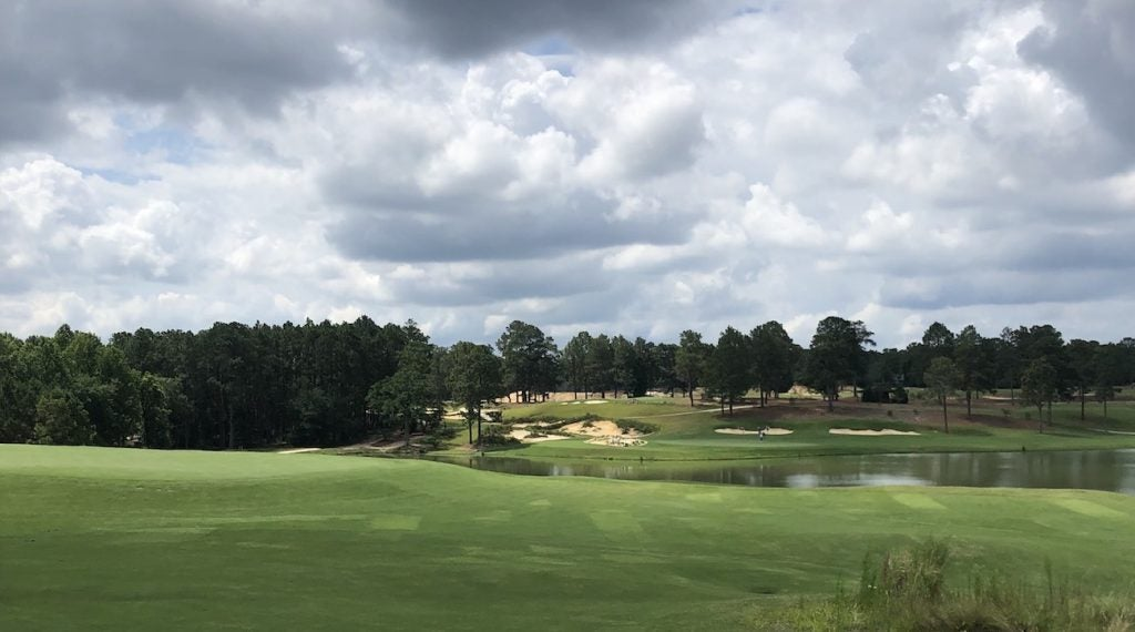 A view from behind the par-3 6th green on Pinehurst No. 4.