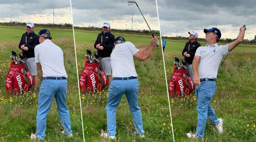 Kevin Streelman explored the Portrush rough during Tuesday's practice round.