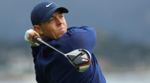 Rory McIlroy tees off with TaylorMade's M5 driver.