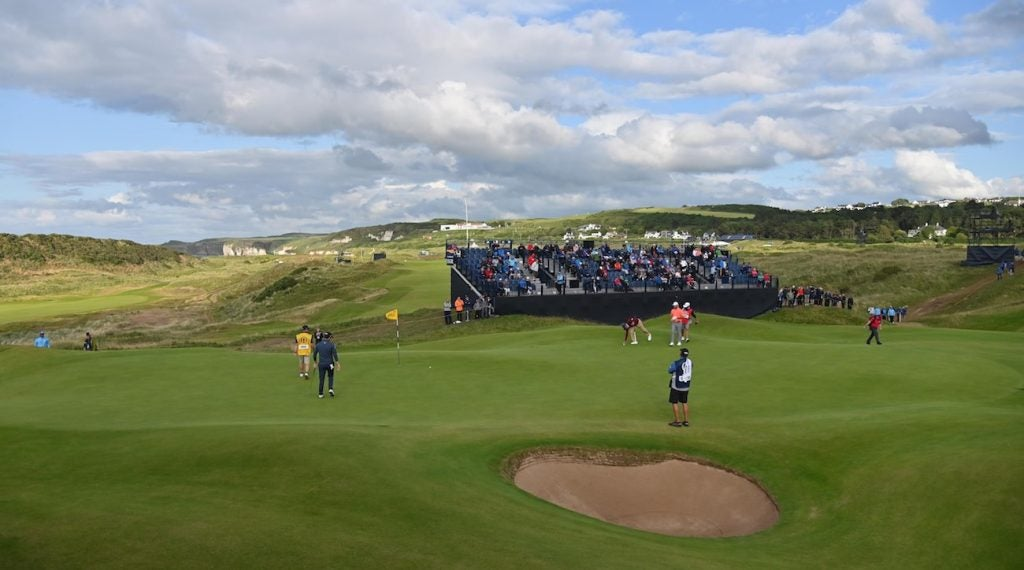 View of the 15th green at Royal Portrush Golf Club, the site of this week's Open Championship.