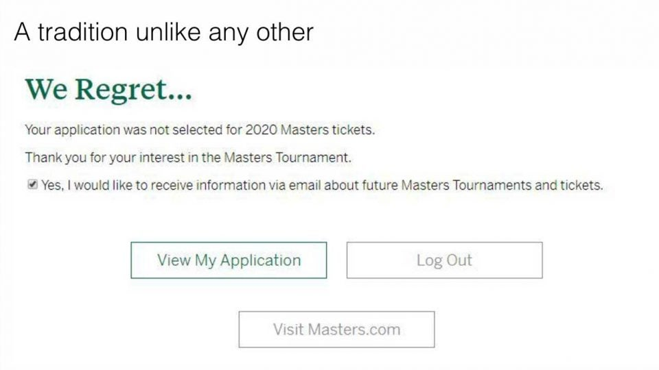 Ryder Cup 2020 Billeterie.Masters Ticket Lottery The 12 Best Reactions To Dashed Dreams
