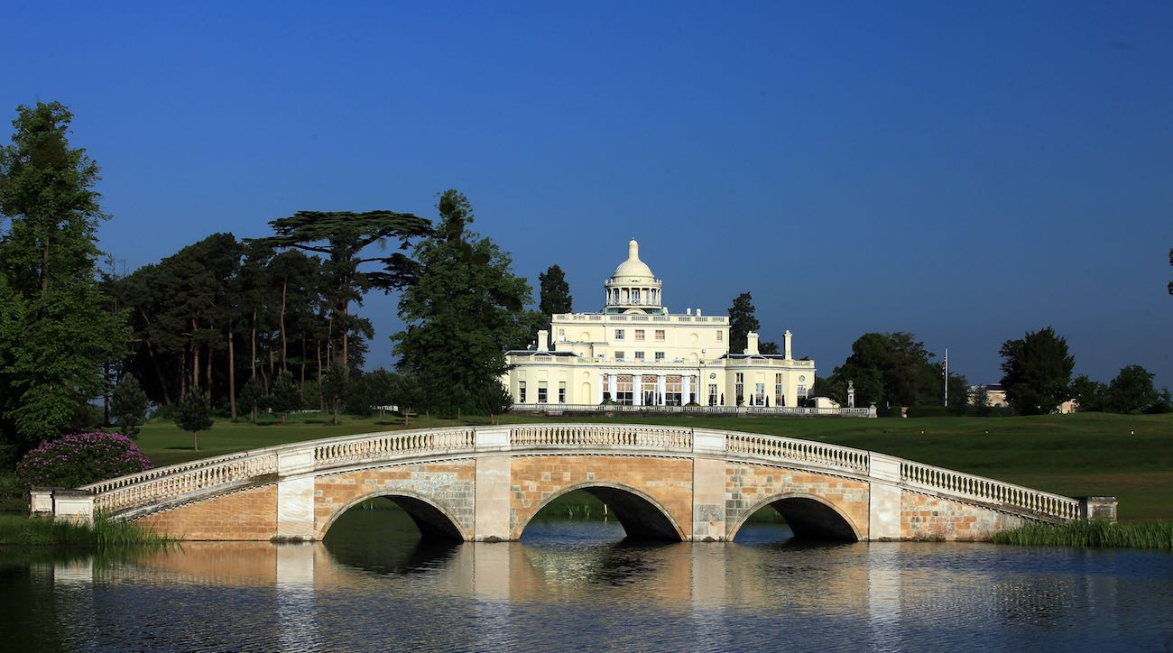 Stoke Park golf club, located just outside London, features one of the most regal clubhouses as its backdrop. Some might even say
