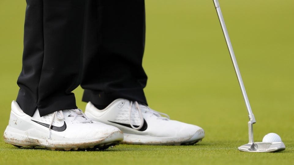 Tiger Woods' Scotty Cameron Newport 2 has a strip of lead tape in the cavity to add head weight.