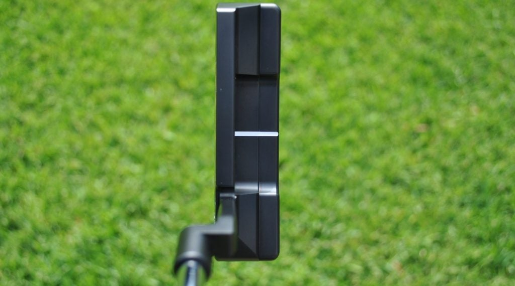 A view of the putter from the address position.