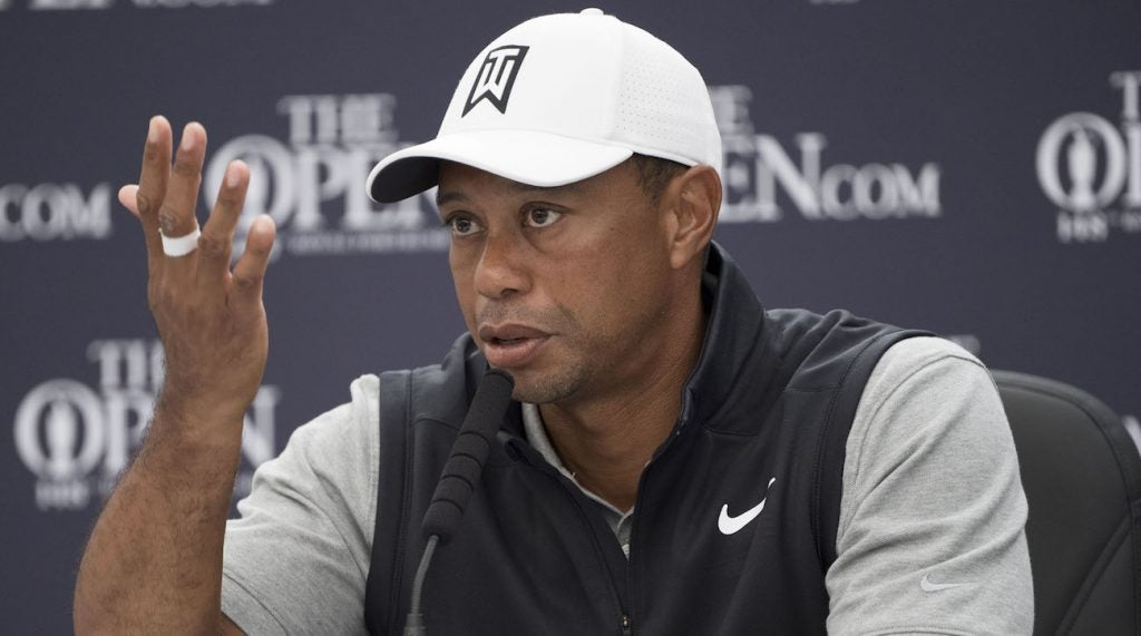Tiger Woods speaks during his press conference after a practice round of The Open Championship golf tournament at Royal Portrush Golf Club - Dunluce Course.
