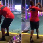 Zion Williamson takes a cut at Topgolf Las Vegas.