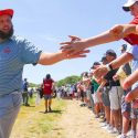 Andrew 'Beef' Johnston greets fans at 2018 U.S. Open