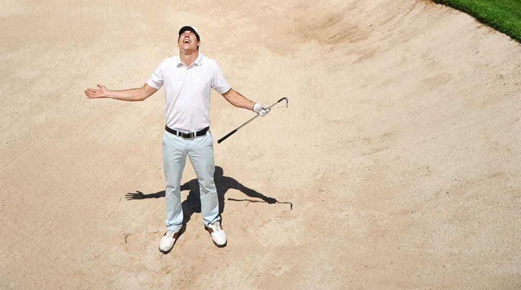 Yes, we know what was a terrible shot. Now hurry up and finish the hole.