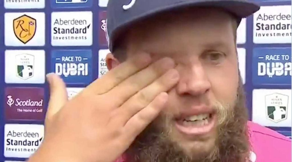 Andrew 'Beef' Johnston reacts to his final-round 62 on Sunday at the Scottish Open.