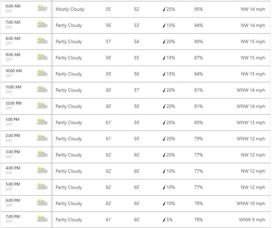 The hourly forecast for Saturday in Portrush, via Weather.com.