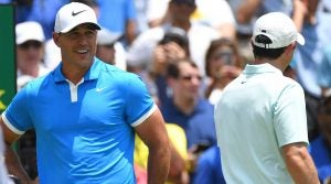 Brooks Koepka and Rory McIlroy introduced on the first tee on Sunday at the FedEx St. Jude.