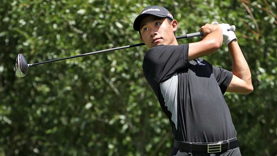 Collin Morikawa tees off during the final round on Sunday.