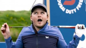 Eddie Pepperell breaks his putter over neck at Irish Open
