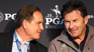 Jim Nantz and Nick Faldo chat during the 2019 PGA Championship.
