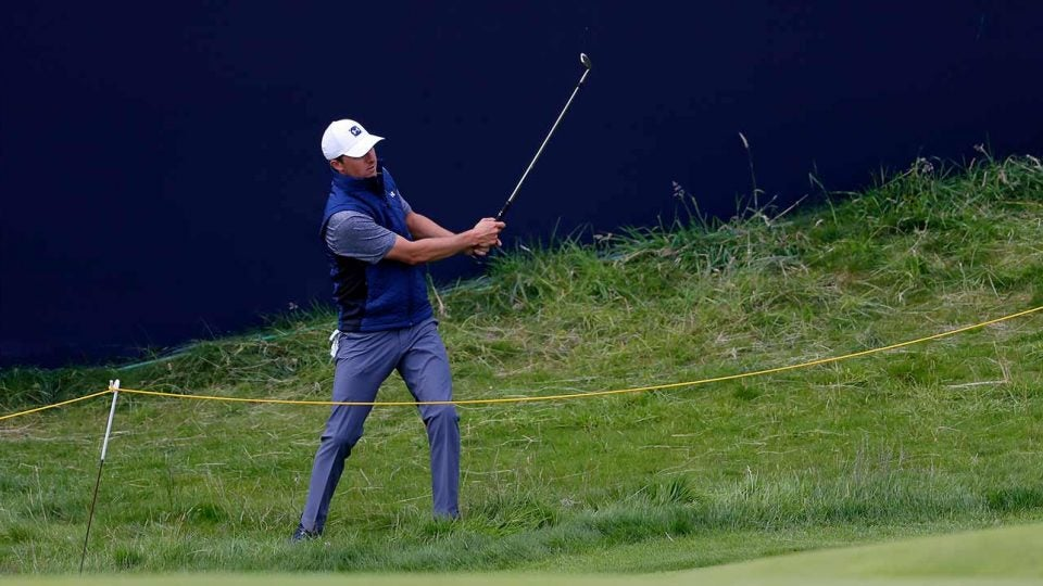 Jordan Spieth hits a shot during a practice round prior to the 2019 British Open.