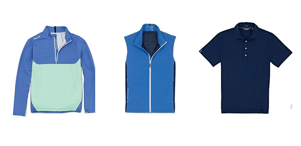 From left to right: Polo Stratus Wind-breaker ($148), Ascent Vest ($198), and Solid Stretch Vintage Lisle ($89).