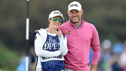 Lee Westwood and his caddie-girlfriend Helen Storey at the 2019 Open Championship.