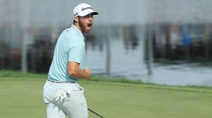 Matthew Wolff celebrates his winning eagle putt at the 3M Open.
