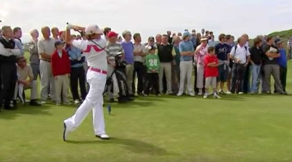 Rory McIlroy tees off during his epic 11-under 61 round at Royal Portrush in 2005.
