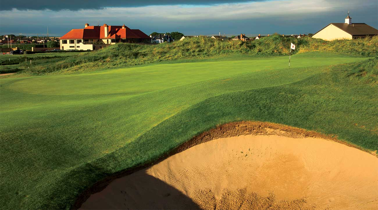 The new home hole at Royal Portrush, with the clubhouse on the left.