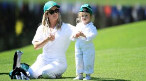 Shane Lowry's wife, Wendy Honner, and their daughter, Iris, at the Masters.