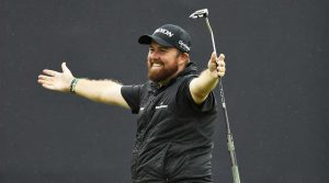 Shane Lowry celebrates his Open Championship victory on Sunday in Royal Portrush.