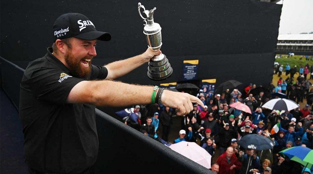 Shane Lowry celebrates his Open Championship victory at Royal Portrush. The Irishman won by six.