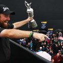 Shane Lowry celebrates his Open Championship victory at Royal Portrush. Lowry won by six.
