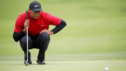 Tiger Woods reads a putt at the U.S. Open.