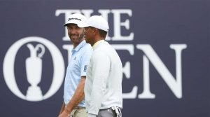 Tiger Woods, Dustin Johnson and Rickie Fowler played a practice round together on Monday at Royal Portrush.