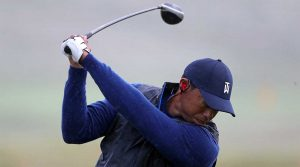 Tiger Woods takes a swing during a range session at the Open Championship on Wednesday.