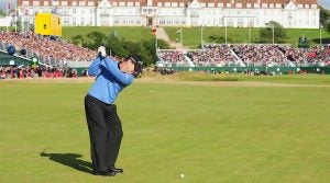 Tom Watson hits his approach shot into the 72nd hole at Trump Turnberry during the final round of the 2009 Open Championship.