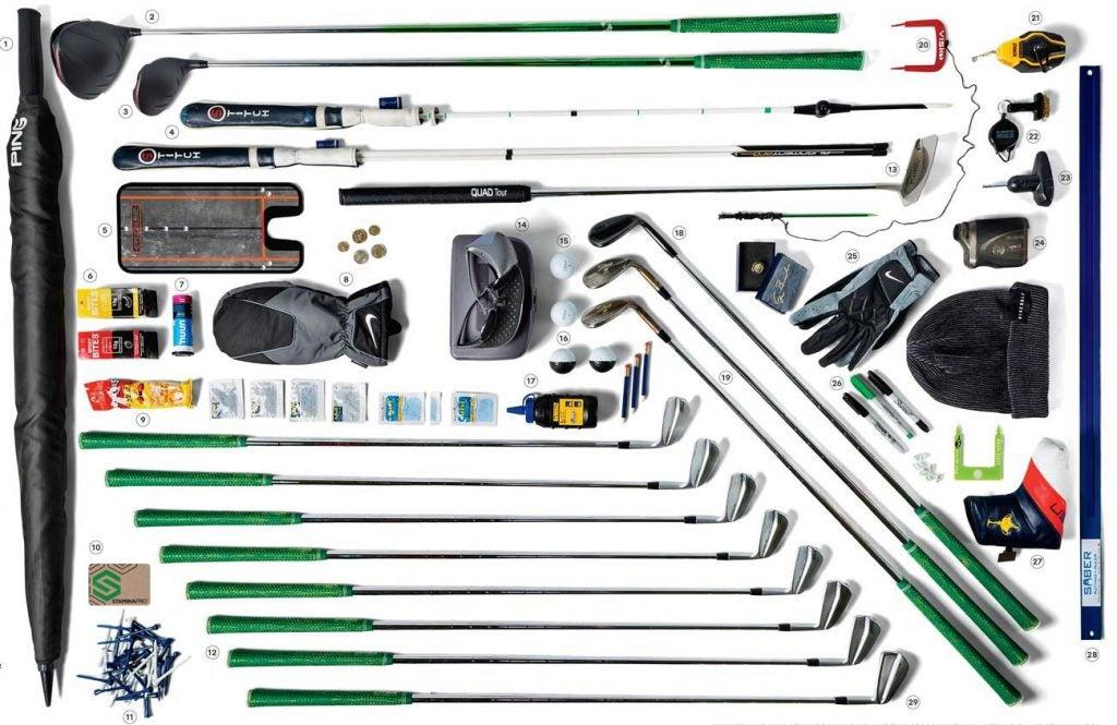 The full contents of Tony Finau's golf bag.