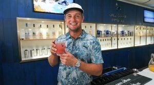JERSEY CITY, NJ - AUGUST 07: Bryson DeChambeau poses with a drink he made in the 19th Hole Grey Goose Lounge prior to THE NORTHERN TRUST at Liberty National Golf Club on August 7, 2019 in Jersey City, New Jersey. (Photo by Ben Jared/PGA TOUR)