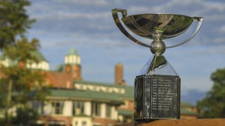 MEDINAH, IL - AUGUST 16 : A photo illustration of the FedEx Cup trophy during the second round of the BMW Championship at Medinah Country Club (No. 3) on August 16, 2019 in Medinah, IL. (Photo by Stan Badz/PGA TOUR via Getty Images)