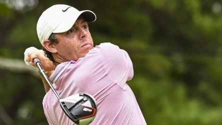 ATLANTA, GA - AUGUST 25: Rory McIlroy of Northern Ireland plays his shot from the fifth tee during the final round of the TOUR Championship, the final event of the FedExCup Playoffs, at East Lake Golf Club on August 25, 2019 in Atlanta, Georgia. (Photo by Keyur Khamar/PGA TOUR via Getty Images)